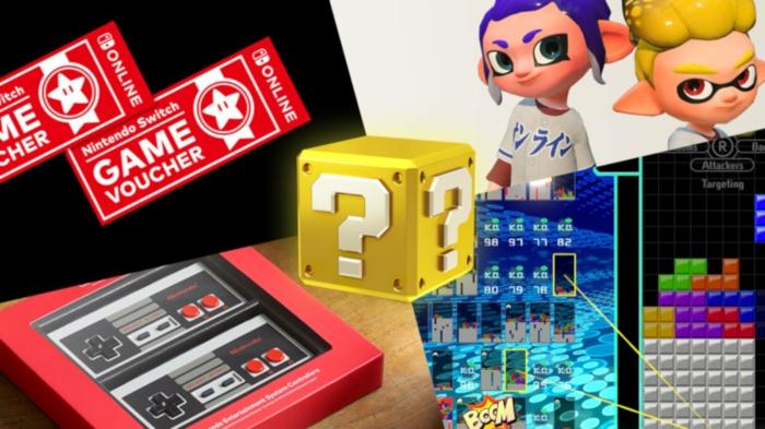 Nintendo Gutscheine, ein Bild aus Super Mario Box mit Fragezeichen, Figuren aus einem Spiel