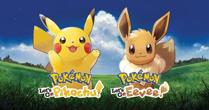 zwei niedliche Pokemons, Pikachu aus dem Spiel von Nintendo Let´s go Pokemon