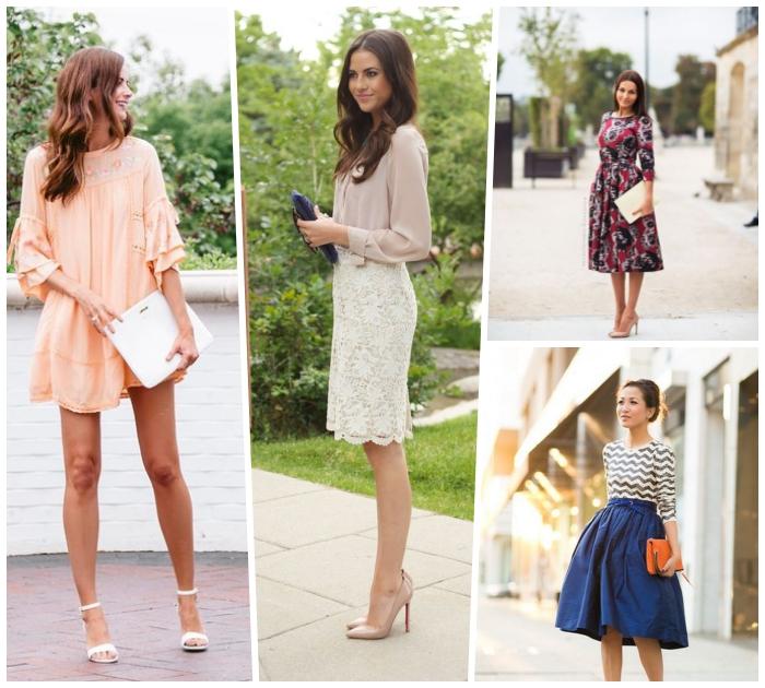 outfit hochzeit gast klein kleid, creme kleid mit weiten ärmeln, weiße tasche, gerader strickrock in kombination mit weiter bluse