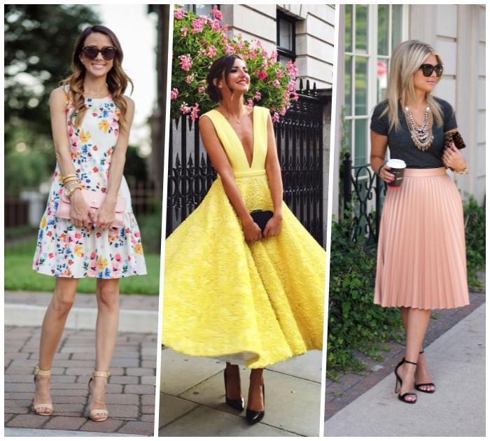 outfit hochzeit gast klein kleid mit floralen motiven, gelbes abendkleid in retro stil, rosa rock mit dunkelgraues t schirt