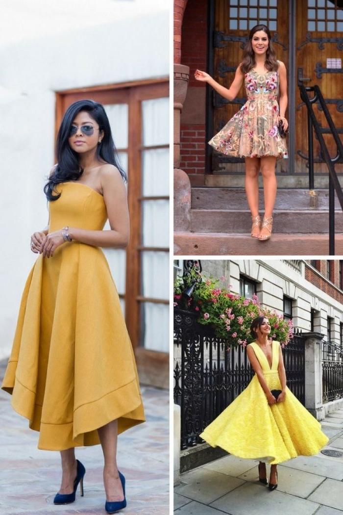 trenige sommerkleider, outfit hochzeitsgast, gelbes kleid in a linie, kurzes sommerkleid mit applikationen