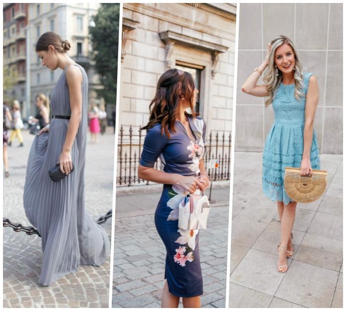 outfit hochzeitsgast, hellblaues kleid mit spitze, graues abendkleid, tasche aus bamboo, sommerkleid mit floralen motiven