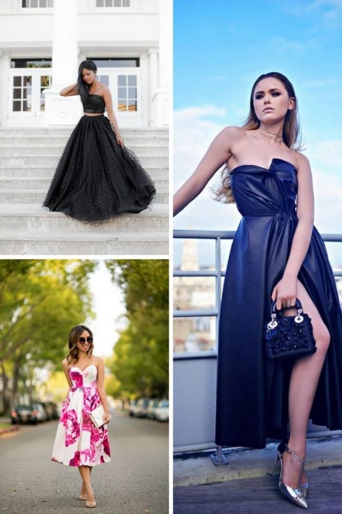outfit hochzeitsgast, ideen für frauen, schwarzer tüllrock mit engem top, knielanges kleid in rosa und weiß