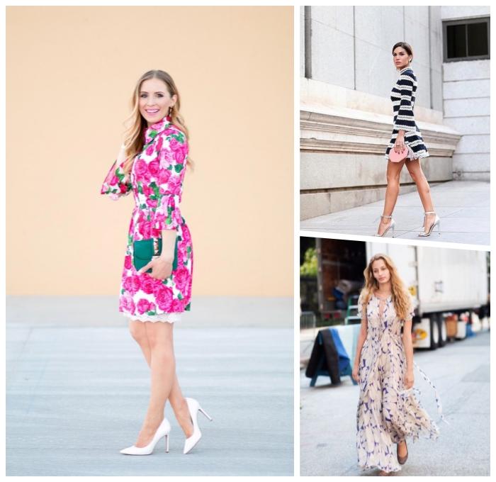 party outfits damen, kurzes kleid mit floralem motiv, festliche outfits für frauen, langes sommerkleid