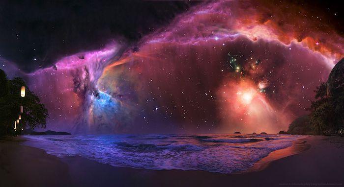 pinterest hintegründe, galaxie bild mit faszinierenden farben am schwarzen hintergrund