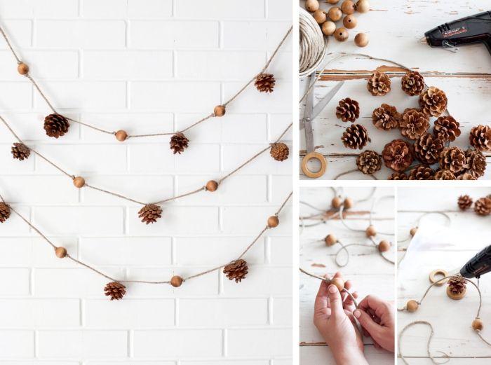 herbst dekoration mit zapfen, haselnussschalen und schnur, deko girlande selber basteln