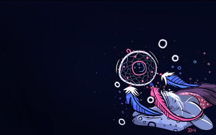tumblr aesthetic wallpaper, traumfänger design idee in neonfarben bei dunklem hintergrund