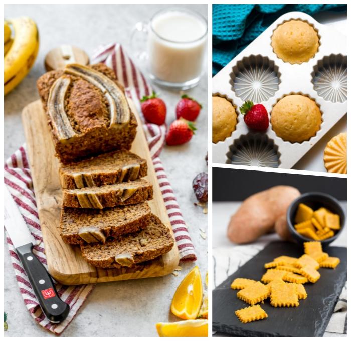 rezept glutenfreier kuchen, bananenkuchen mit zimt, muffins mit vanille, selsbtgemachte kräkers
