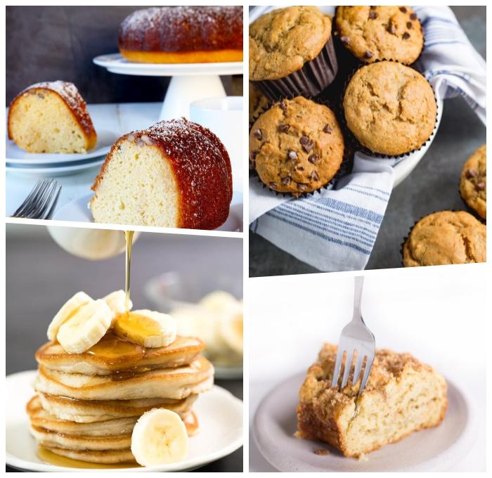 rezept glutenfreier kuchen, muffind mit schokoladenchips, amerikanische pfannkuchen mit banene und honig