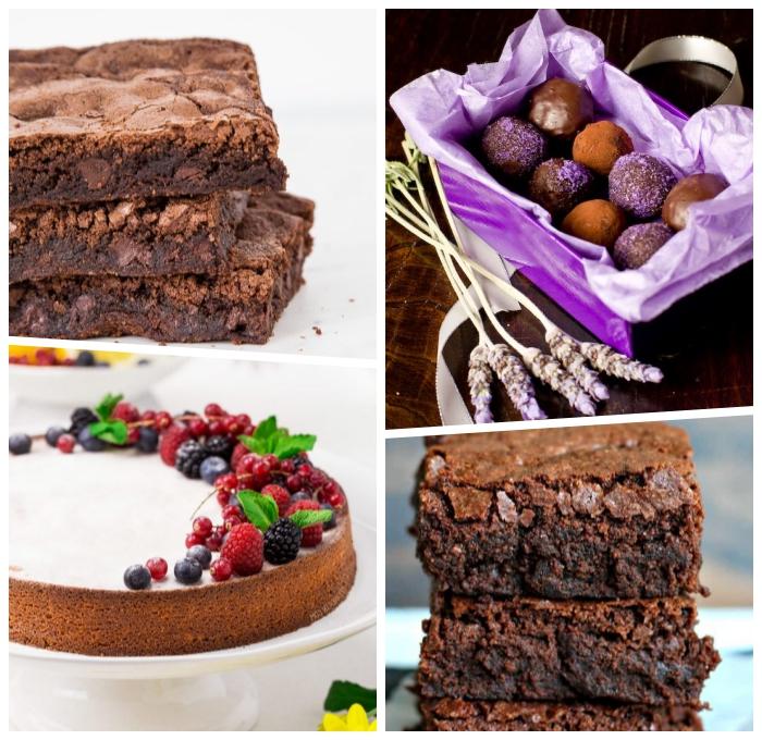 häppchen mit schokolade und lavendel, torte mit früchten, brownies, rezept glutenfreier kuchen, desserts