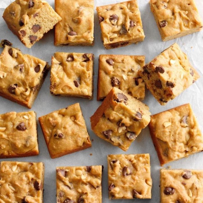 kuchen glutenfrei vegan, rezepte glutenfrei, blondies mit erdnussbutter und schokoladenchips, leckere rezepte