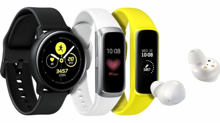 Samsung Galaxy Watch und zwei Fitness Armbändern mit verschiedenen Funktionen