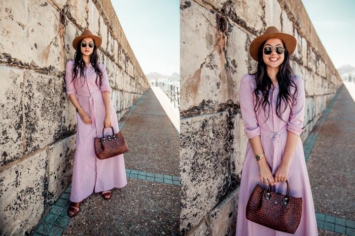 sommer outfit damen 2019, brauner hut, langes rosa kleid mit langen ärmeln, kleine tasche, frauenoutfits ideen