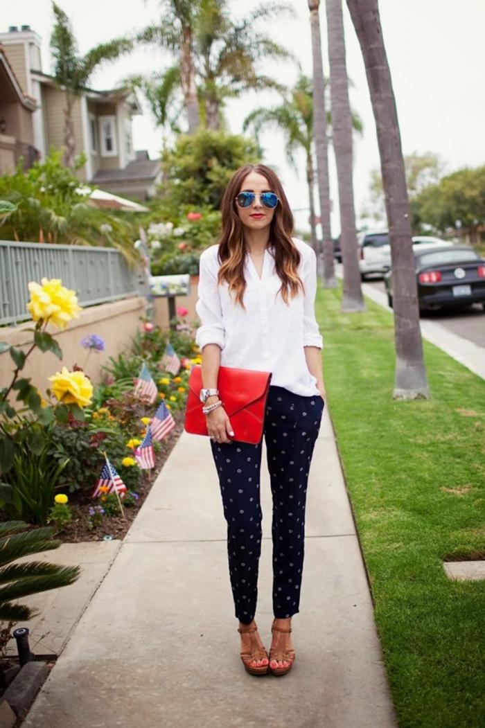 sommer outfit, bisiness outfit damen, rote tasche, schwarze bepunktete hose, weites weißes hemd