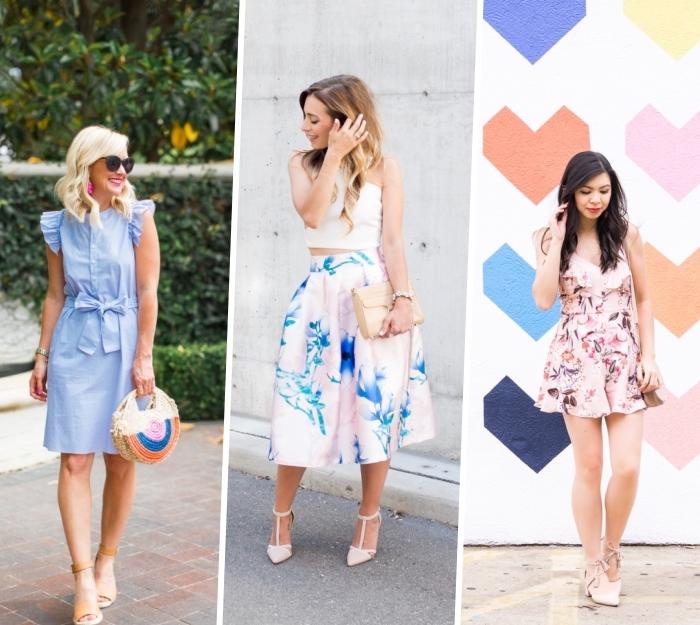 sommer outfit damen, hellblaues sommerkleid mit rüschen, rock mit hoher teille, weißer top, kurze hemdhose mit floralen motiven