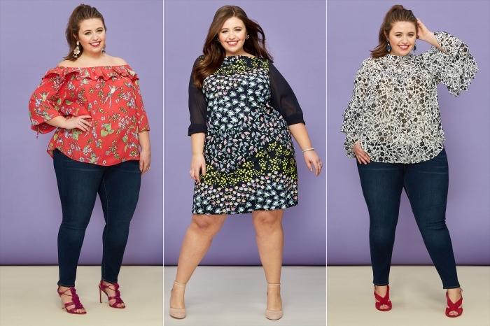 sommerkleider große größen, rosa weite bluse mit floralen mtoiven, knielanges buntes kleid, dunkle jeans