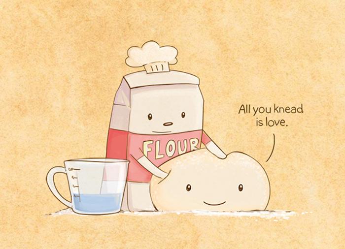reddit tumblr, all you knead is love, mehl macht teig aus liebe, tassee daneben, lustige collage