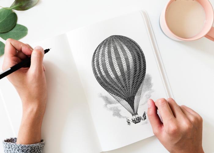 reddit tumblr, balloon selber malen schwarz auf weiß, dekor ideen für wanddeko, tasse mit milch