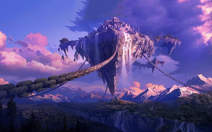 reddit tumblr, fantasievolles bild von einem schloss in dem himmel, blau, lila, rosa bildfarben