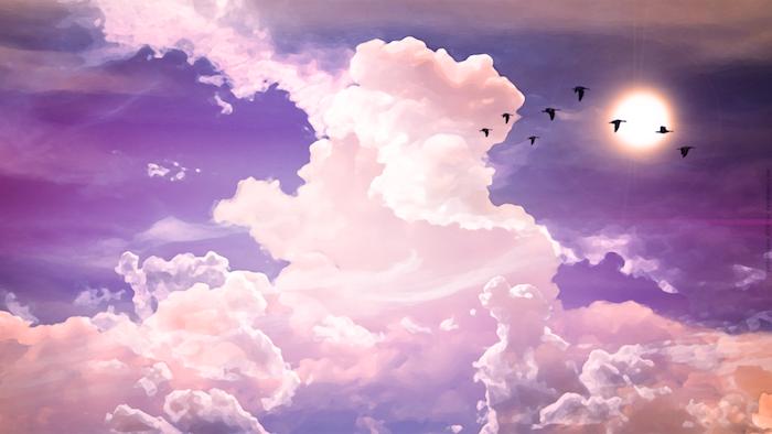 tumblr wallpaper quotes, wolken in weiß auf dem lila und blau himmel, mondschein