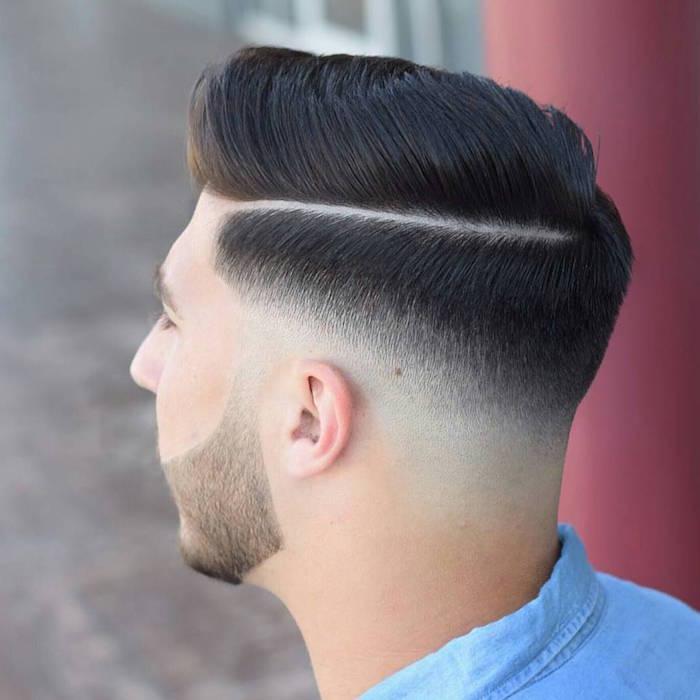 undercut männer mit übergang, mode haartrends schwarzes haar, kurzer bart