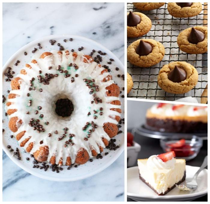 vegane glutenfreie rezepte, kuchen mit weißer zuckerglasur und schokoladenperlen, kekse mit schokolade, ceesecake mit erdbeeren