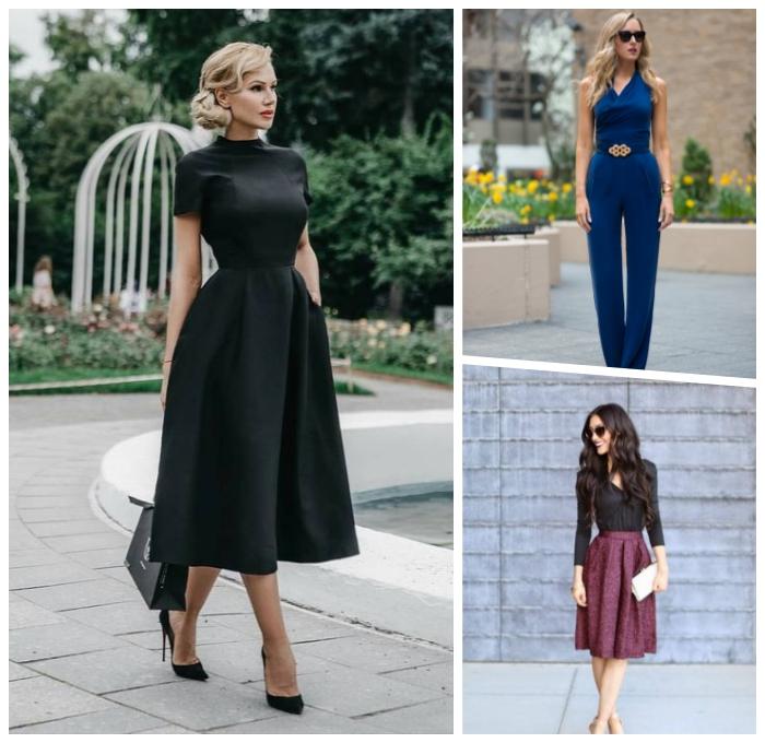 vintage kleider hochzeit, schwarzes kleid mit kurzen ärmeln, dunkelblaue hemdhose, schwarze bluse mit dunkelrotem rock