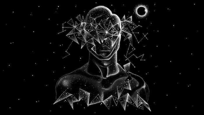 hintergrund tumblr, mit dternen eine person malen lassen, schwarz weißes bild