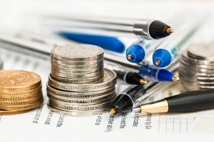 wohnung renovieren, budget planen, viele kugelschreiber und münzen, credit nehmen, geld
