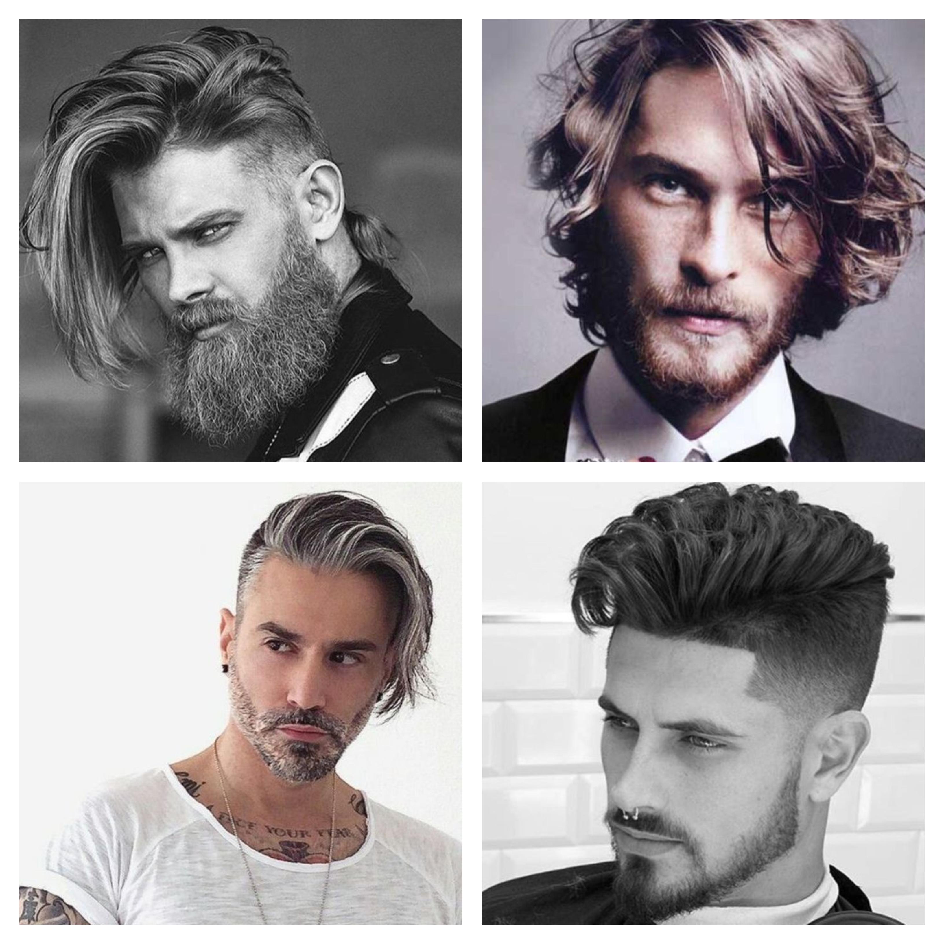 frisuren für männer mittellang, eine collage mit vier bildern, trendfrisuren 2019, moderner eleganter look für mann