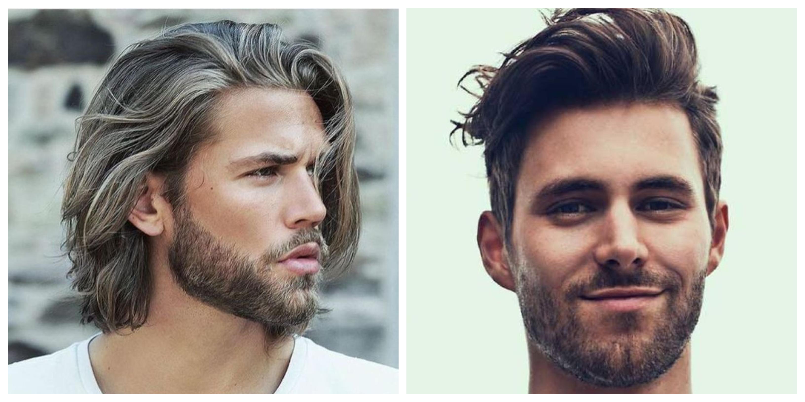 halblange haare, blonder mann mit glatten haaren foto am strand und ein dunkelhaariger mann sehr zufrieden mit seiner frisur