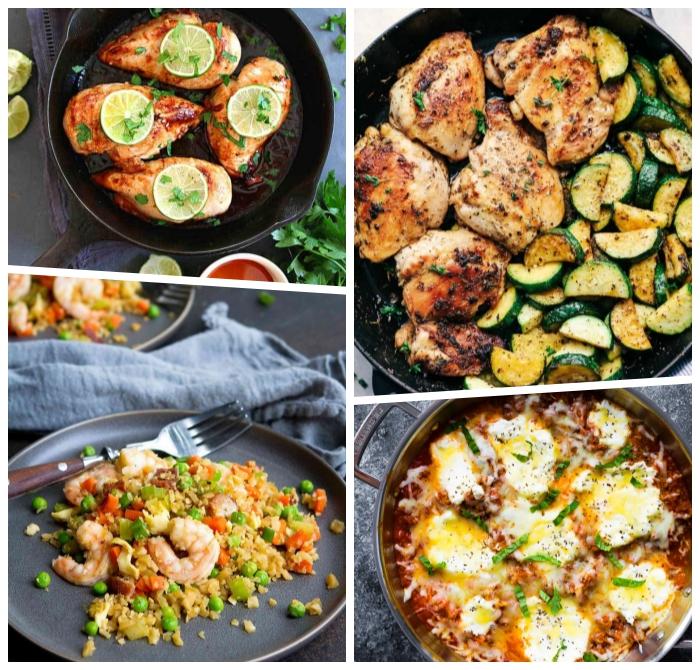 abendessen low carb, einfache und schnelle rezepte, hüherbrust mit limetten, garnelen mit salat aus gemüsen