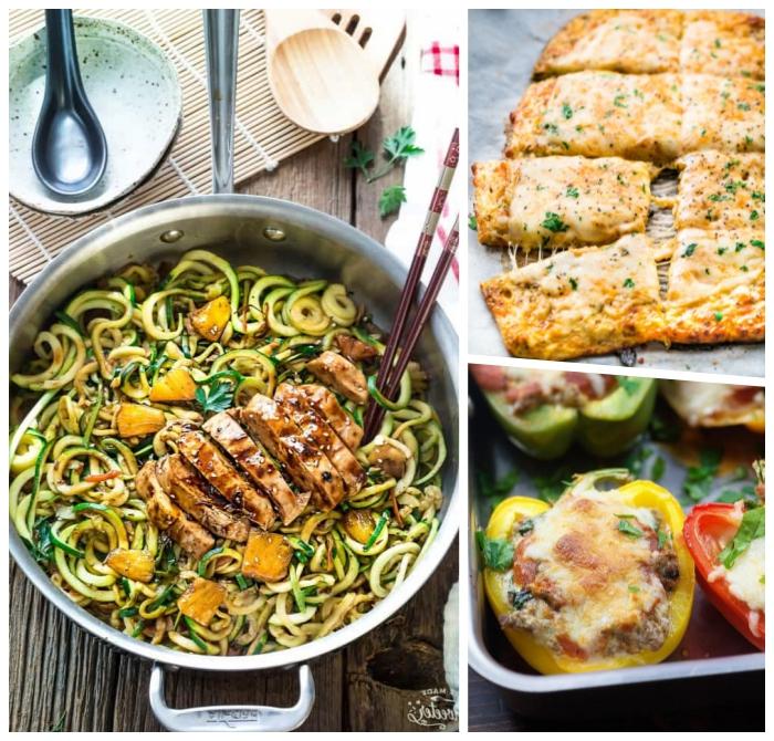 abendessen low carb, gegrilltes fleisch mit zucchini, gefüllte paprikas mit hackfleisch und käse