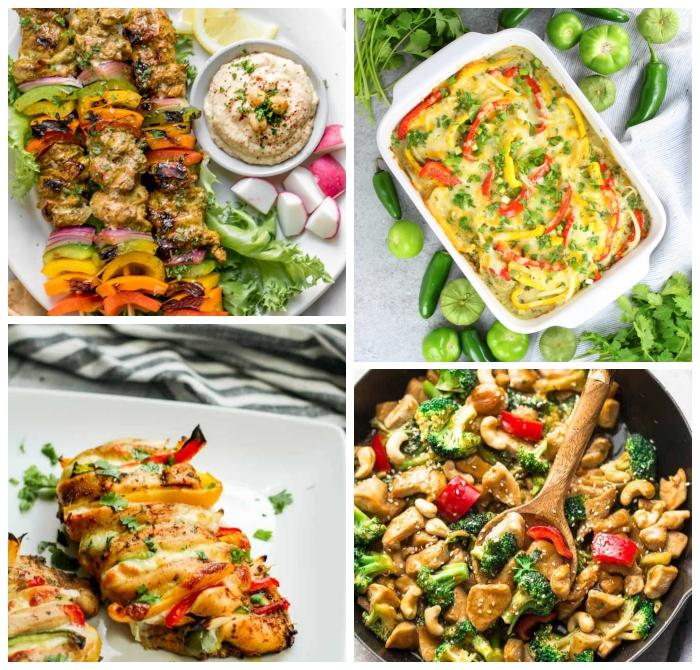 abendessen low carb, rezepte zum abenhemen, rezepte zum abnehmen, spieße mit hühnerfleisch und gemüse