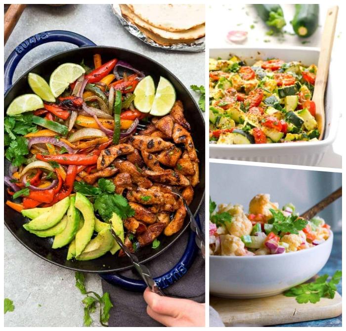 abendessen low carb, schnelle rezepte zum abnehmen, hühnerbrust mit avocado, paprika und karotten