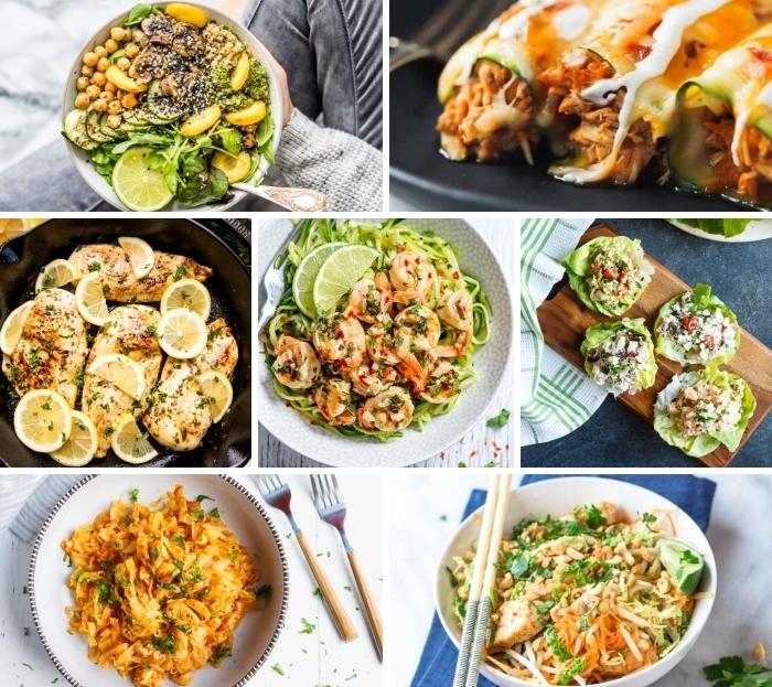 abendessen ohne kohlenhydrate, hühnerbrust mit zitronen, gesunder salat zum abenhmen, tacos aus salatblättern, enchilladas aus zucchini