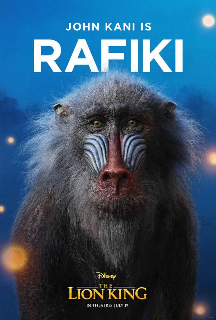 Can You Feel The Love Tonight, der graue alte pavian namens rafiki, ein poster von dem könig der löwen movie, bäume und blauer himmel