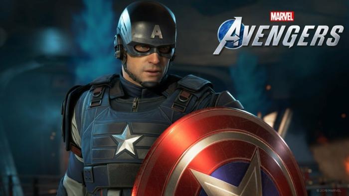 Captain Amerika mit seiner schönen Uniform und sein berühmten Schild, Avengers Spiel