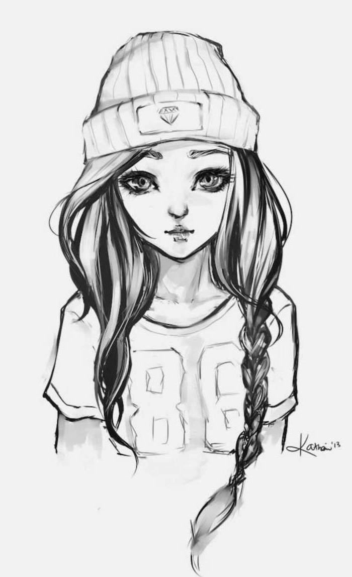 bilder selber malen, coole bilder zum zeichnen, mädchen mit t shirt und mütze, zopffrisur