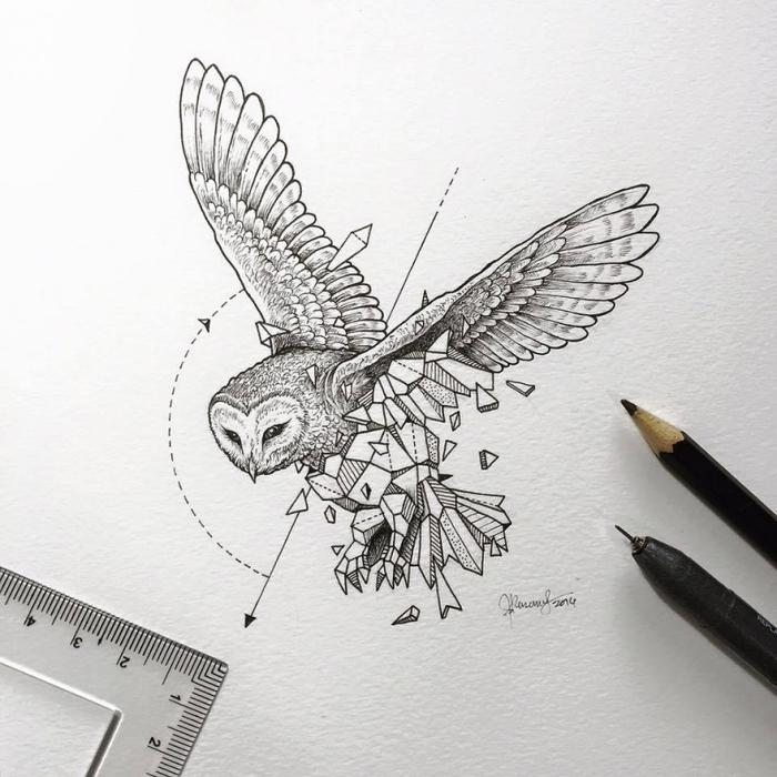 bilder selber malen, fliegende eule in kombination mit geoemtrischen elementen, pfeile, vogel