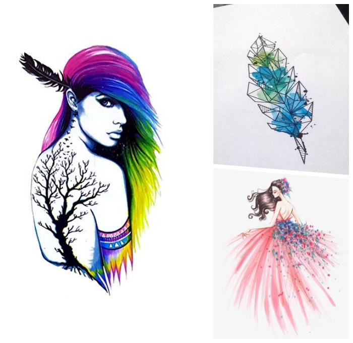 bilder selber malen, feder mit geometrischen motiven dekoriert mit wasserfarben, bunte haare, braum am rücken, rosa kleid