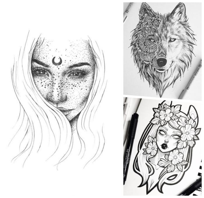 bilder selber malen, frau mit halbmond zwischen den augen, wolf mit geometrischen motiven, toten tier