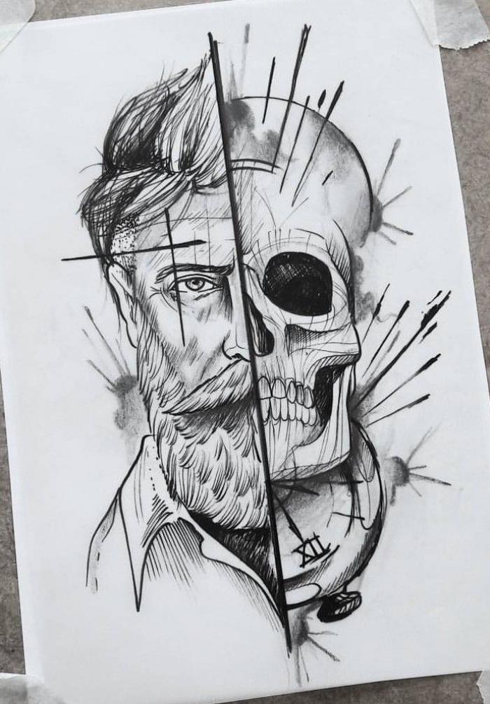 bilder selber malen ideen, mann mit langem bart, schwarz graue zeichnung, totenkopf, tattoo motive für männer