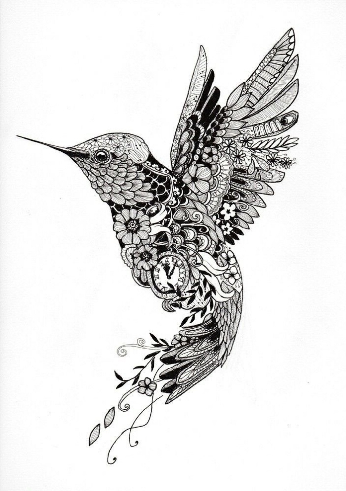 bilder selber malen, detaillierte zeichnung, kolibri zeichnen, kleine blüten, feligender vogel, uhr