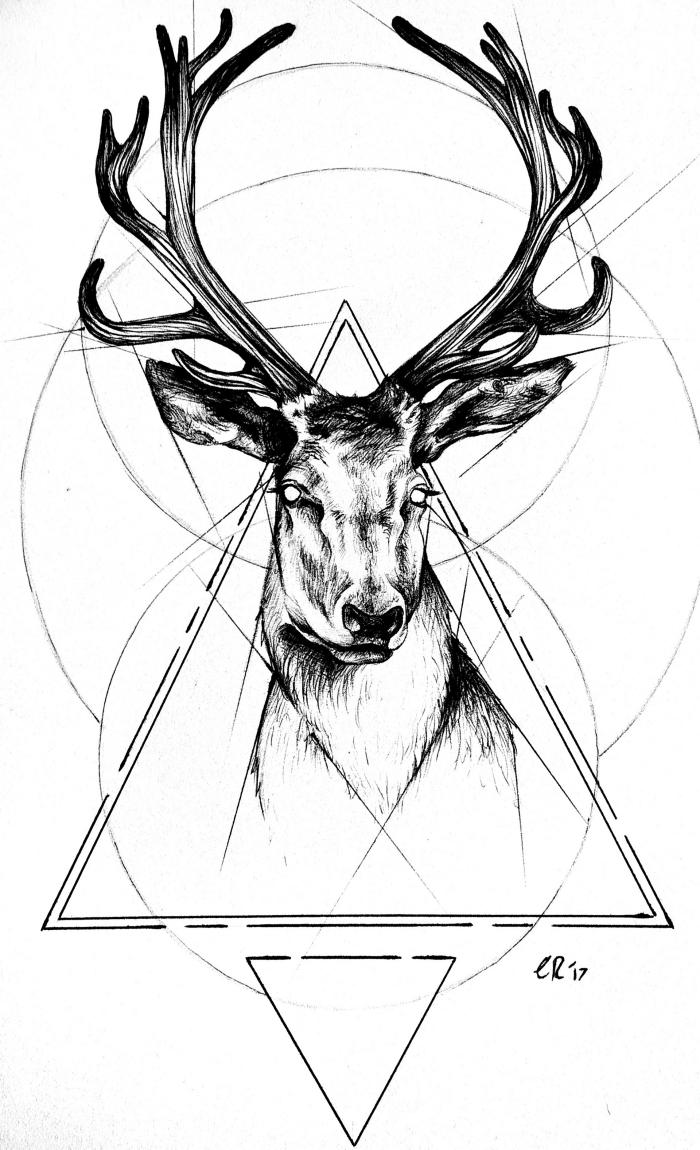bilder zum malen ideen, hirsch ohne augen, geoemtrische motive, schwarz graue zeichnung, dreicke