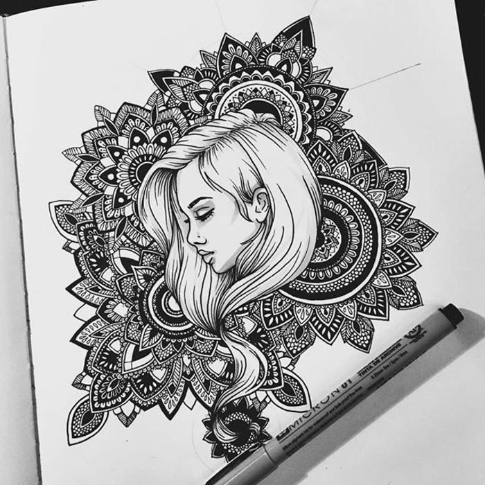 bilder zum abmalen, mandala zeichnen, frauenkopf, detaillierte zeichnung, geoemtrische motive