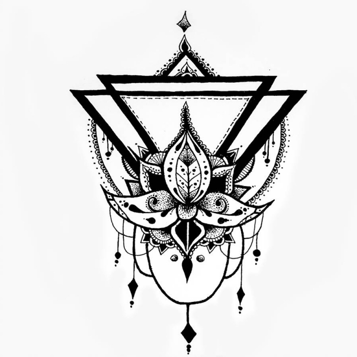 bilder zum abmalen, tattoo vorlage, lotusblume mit geometrischen motiven, lotus