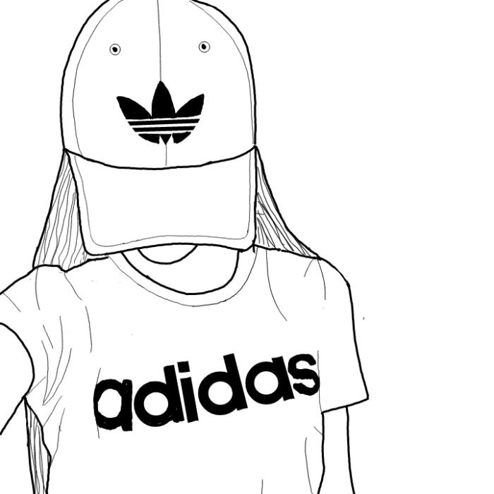 bilder zum abmalen, ausmalbilder ideen, mädchen mit t shirt und hut, lange haare, adidas