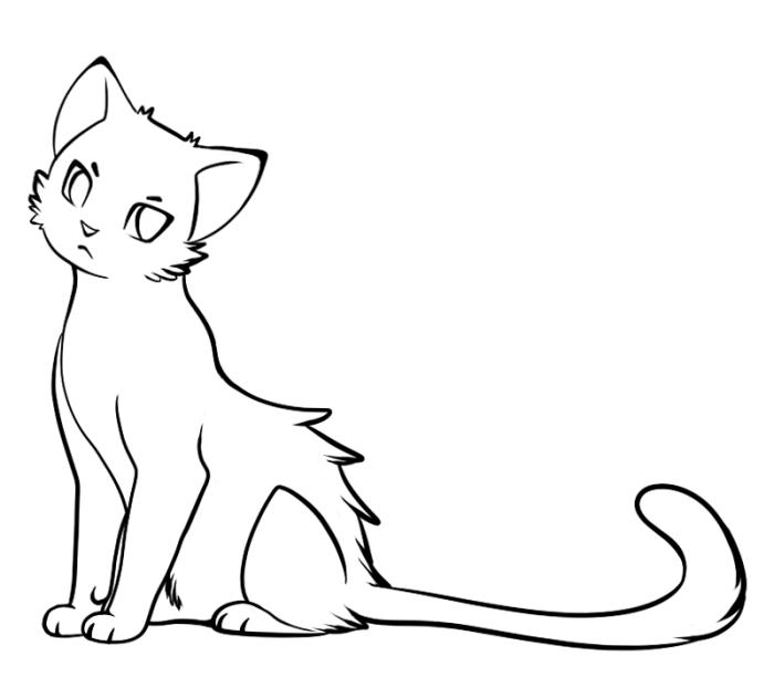 bilder zum ausmalen, ausmalbilder für kinder, katze mit langem schwarz, einfache zeichnung, tier