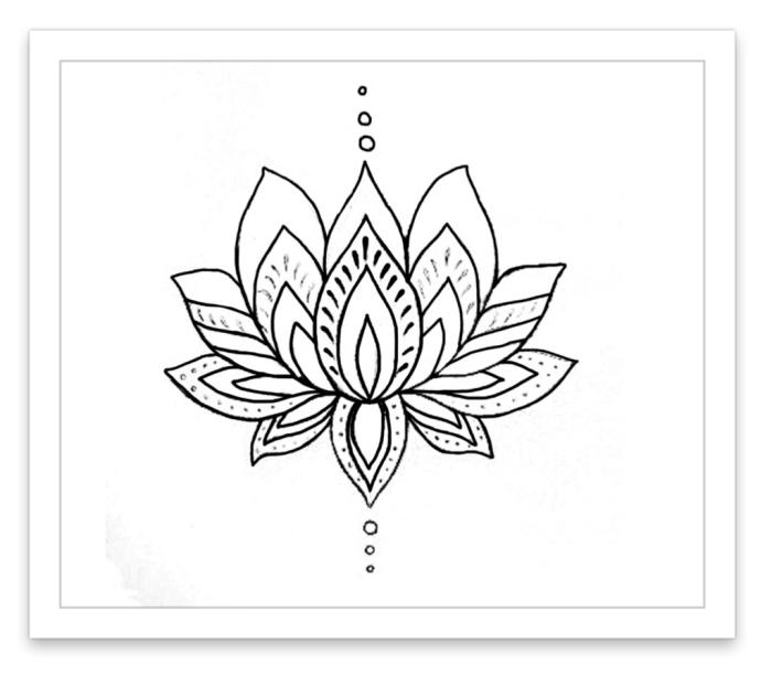 bilder zum ausmalen, lotusblume mit geometrischem motiven, kleine kreise, einfache zeichnung, lotus